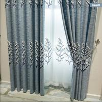 Curtains Free Shipping!Modern Thickening Cotton Linen High grade blue/coffee Embroidered Bedroom Window Curtain.