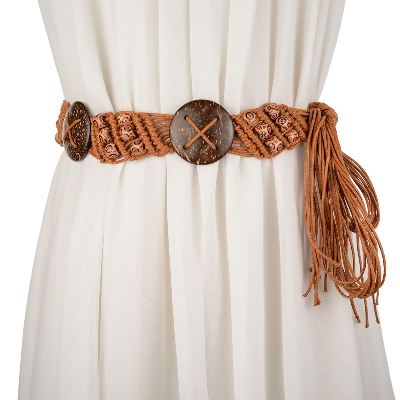 2017 New Belts for Women wide belt braided rope knotted wooden beads decorative tassels Waistband female belt