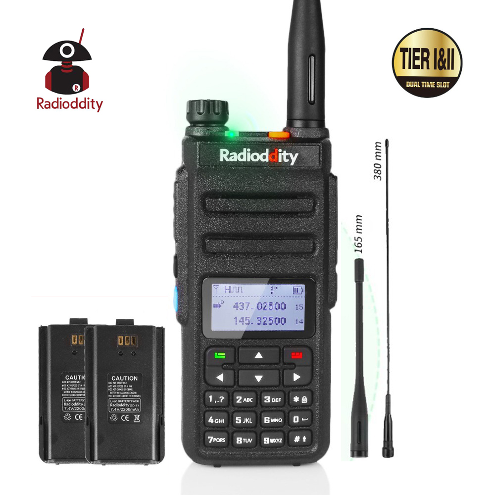 Radioddity GD-77 Dual Band Dual Time Slot DMR Digital/Analog Two Way Radio 136-174 /400-470MHz Ham Walkie Talkie With Battery