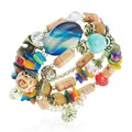 Multicolor Beads Multilayer Coloured Glaze Gem Flower Bracelets & Bangles Bracelets For WomenS282