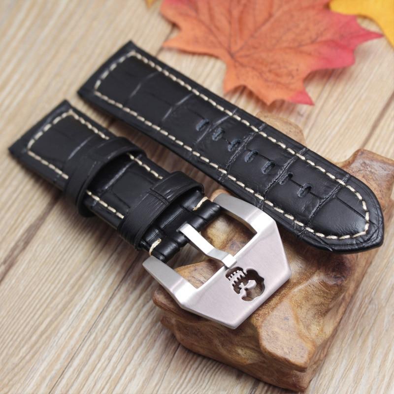 Genuine Leather Watchbands 22mm 24mm Thick Men Women Watch Band Strap Black Brown Orange Vintage Bracelet Skull Hollow Buckle нож крот черный кизляр