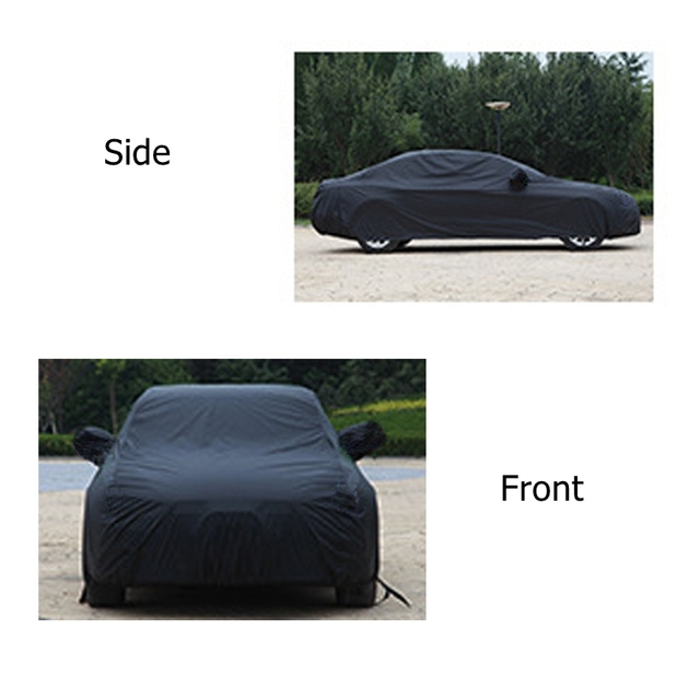 X Autohaux Universal Black Breathable Waterproof Fabric Car Cover w Mirror Pocket Winter Snow Summer Full Car Protection COVERS 1