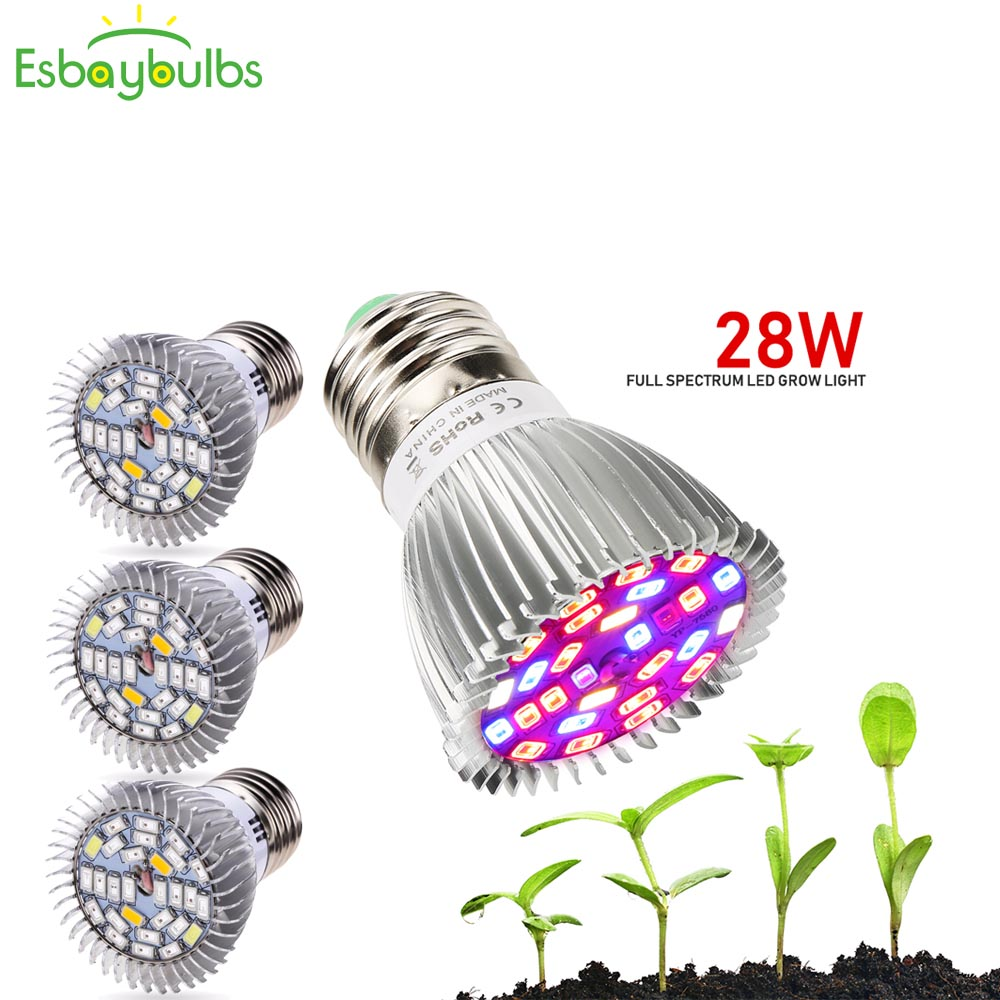 4Pcs/Lot Full Spectrum Grow Lamp 28W E27 LED Grow Light GU10 E14 LED Plant Grow Light Lamps For Seeds Hydro Flower Hydroponics