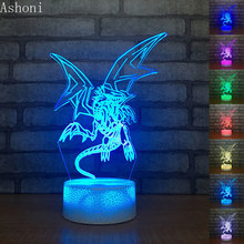 цена Yu Gi Oh Blue-Eyes White Dragon 3D Table Lamp Touch Control 7 Colors Changing Acrylic Night Light USB Decorative Kids Gifts