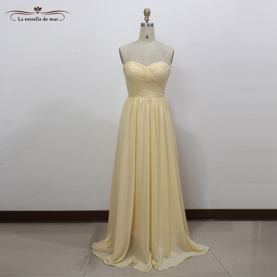 Robe de demoiselles d honneur pour mariage new chiffon sexy sweetheart A Line champagne bridesmaid dresses long real photo