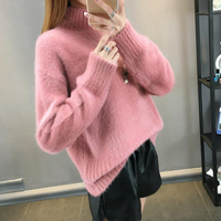 Fluffy Sweater Fur Cashmere Sweater Women Christmas Sweaters 2018 Korean Turtleneck Oversized Knitted Pull Femme Pullover Jumper