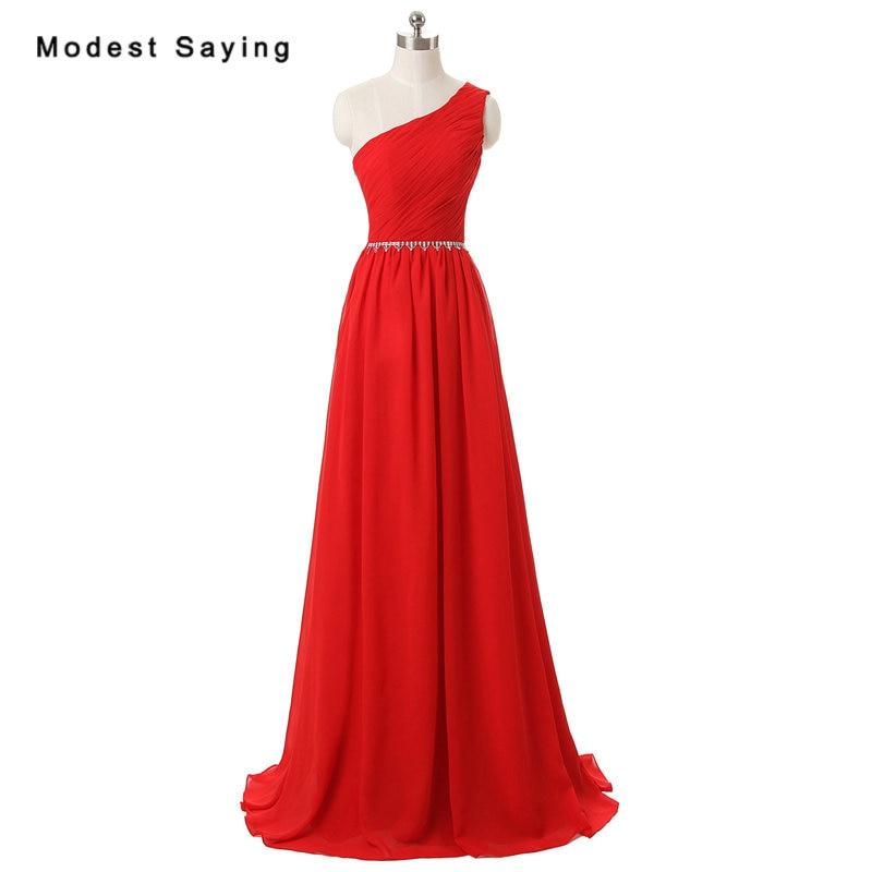 Sexy rouge une ligne une épaule chaîne de cristal pli robes de soirée 2017 formelle longue en mousseline de soie fête robes de bal robe de soirée longue