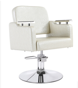 Pure White Factory Direct 360 Degree Rotation Of The Seat Upscale Salon Chair Barber Chair Haircut Chair With Armrests