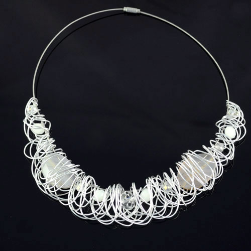 Handmade Wire wrap Choker necklace for women high-grade beaded necklaces with Aluminum wire collar collier femme nl-1311