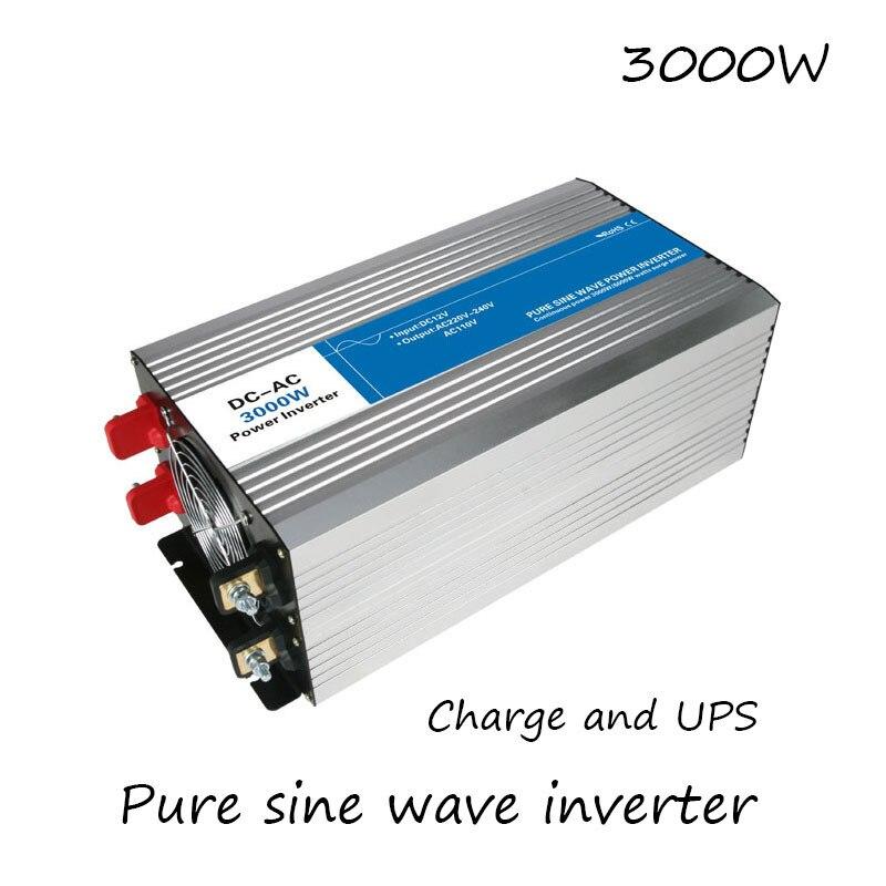 DC AC 3000 Вт Чистая синусоида Инвертор 12 В до 220 В конвертеры с зарядкой UPS Электрический источник питания светодиодный цифровой дисплей USB Кита