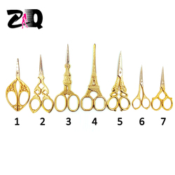 New creative High quality Vintage Retro Gold Cut Scissors handcraft Sewing Embroidery Scissors DIY Tools Gift 409