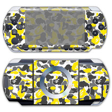Free drop shipping for yellow camo design style skin sticker for PSP 1000 Vinyl Front and Back Decals #TN-PP1000-732(China)