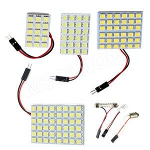 100 pces carro led dome painel luz de leitura acessórios do carro 6/9/12/15/18/24/36/48 smd 5050 adaptador t10 ba9s c5w festão dc12v