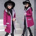 Capa de las muchachas Nuevo 2016 Engrosamiento de La Moda Prendas de Abrigo y Abrigos Chaqueta de Las Muchachas Marca Solid Niños Niñas Chaqueta de Invierno Chaqueta Con Capucha 5-14Y
