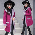 Girls Coat New 2016 Fashion Thickening Outerwear & Coats Girls Jacket Brand Solid Kids Jacket Hooded Girls Winter Jacket 5-14Y