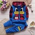 Обработка просвет мальчик комплект одежды весна/осень детская одежда установить дети мальчик с капюшоном пальто + брюки 2 шт. костюм 21 цвета