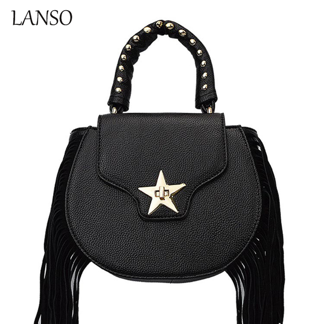 2016 Winter Fashion Star Metal lock Ladies Tassel Bag Punk Rock Style Girl Handbag Star Rivets Tote Circular Black Cool Design