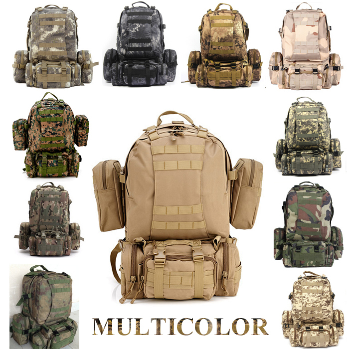 Solid Nylon wearproof Outdoor 60L Sport Climbing Camping Hiking combined Trekking Molle travel Bags Military Tactical