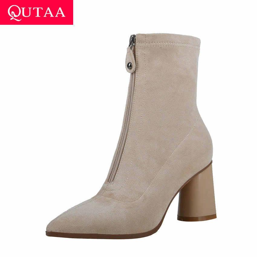 QUTAA 2020 Moda Ön Fermuar Çocuk Süet Kadın Ayakkabı Kare Yüksek Topuk Seksi Sivri Burun Kış Özlü yarım çizmeler Boyutu 34 -39