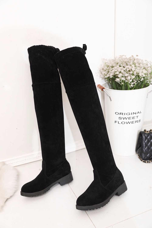 ขนาด 34-41 ฤดูหนาวกว่าเข่ารองเท้าผู้หญิงผ้ายืดผู้หญิงต้นขาสูงเซ็กซี่ Lace Up ผู้หญิงรองเท้ายาว Bota Feminina 660