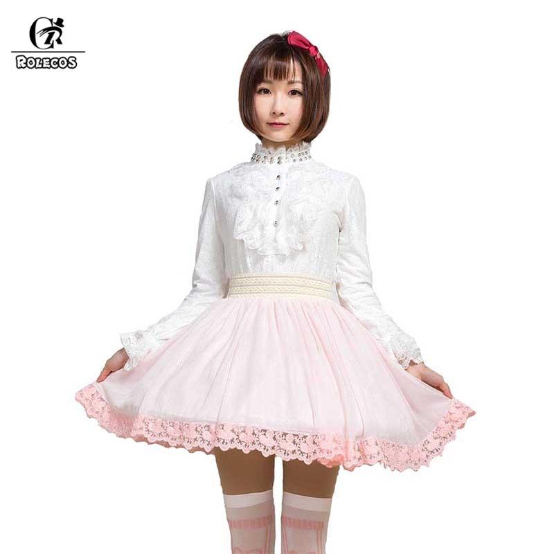 ROLECOS Sweet Lolita jupe pour femmes fête 4 couleurs taille élastique jupe courte femme cadeaux taille haute jupe en mousseline de soie japonais SK
