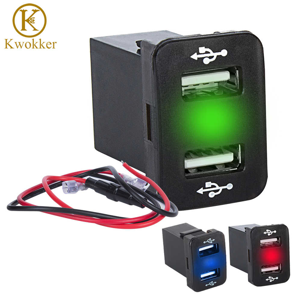 hight resolution of dual usb car charger led power outlet usb socket port with fuse wiring 12 24v