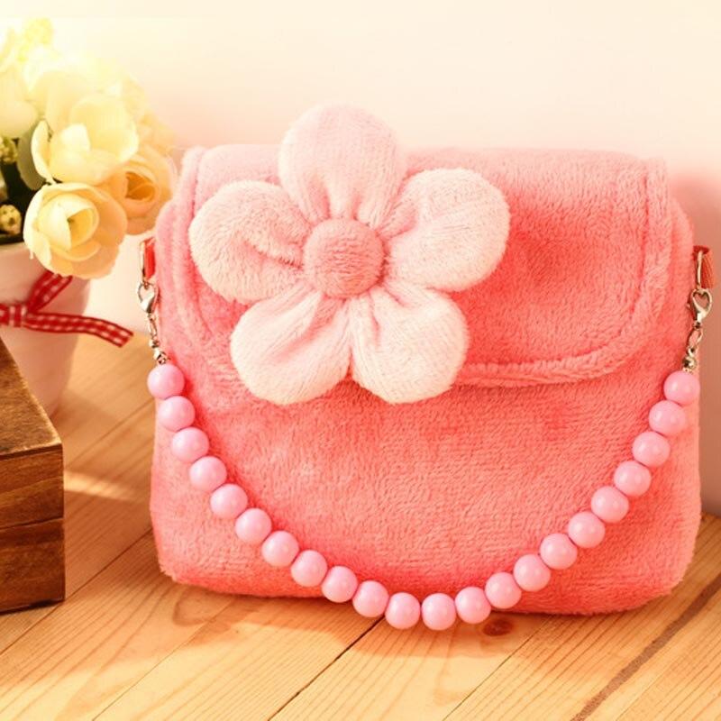Lovely Stereoscopic Flowers Plush Messenger Small Bag Princess Package For Baby Girls Children Kindergarten Handbag Gift