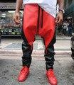 Новые Мужские ИСКУССТВЕННАЯ Кожа Пант Хабар Падение Промежность Брюки Мужчины Hip Hop Бегуны Уличная Брюки Черный И Красный