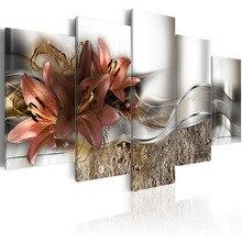 5 шт. HD Печатный изысканный фон коричневая Лилия цветы живопись холст печать комнаты Декор печать картина в рамке PJMT-(11)