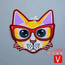 embroidery big cats patches for jacket,s glasses animal badges applique clothing A665