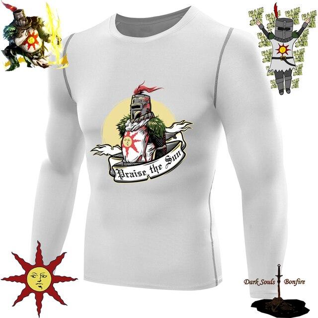 dark souls t shirt compression shirt men long sleeves