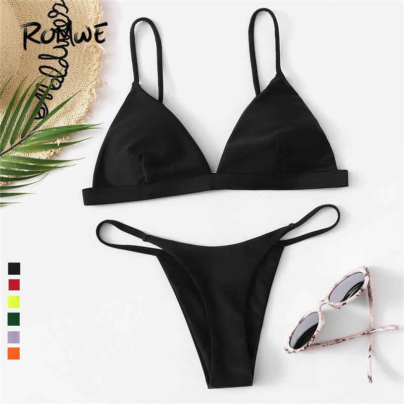 dec9d733443 Aliexpress.com : Buy Romwe Sport Neon Solid Sexy Bikinis Set Triangle Top  With String Thong Swimwear Women Summer Beach Wire Free Swimsuit 6 Color  from ...