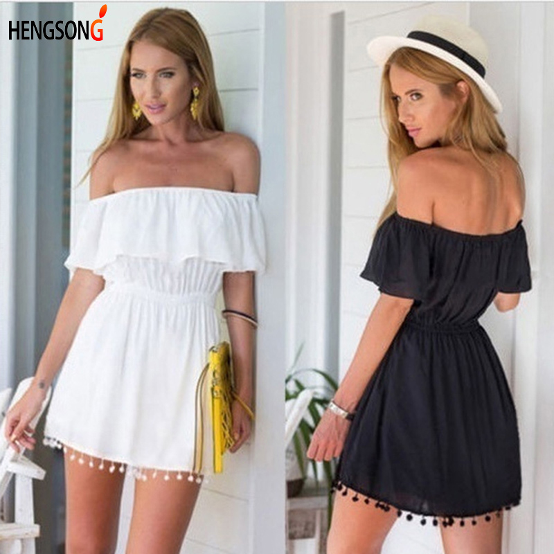 Women Slash Neck Beach Playsuits Women Summer Tassle Solid Jumpsuits Girls Sexy Splice Casual Playsuit 732047