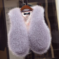 New 2016 Autumn Winters Women Rabbit Fur Vest Fashion Fox Fur Waistcoat Female Solid Color Slim and Short Fur Vests