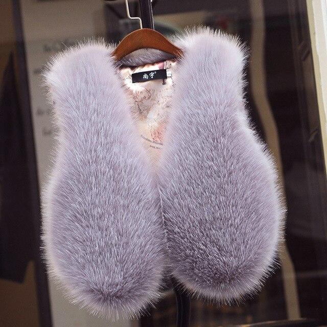 New 2016 Autumn Winters Women Rabbit Fur Vest Fashion Fox Fur Waistcoat Female Solid Color Slim and Short Fur Vests