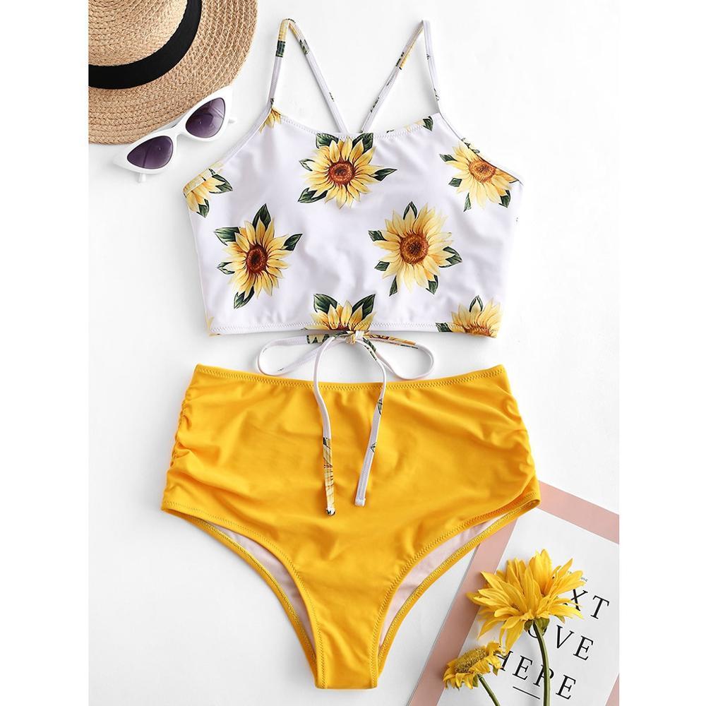 Women Two Pieces Bathing Suits Sunflower  Printing Bandage  High Waist  Brazilian Swimwear Beachwear Maillot De Bain    T#