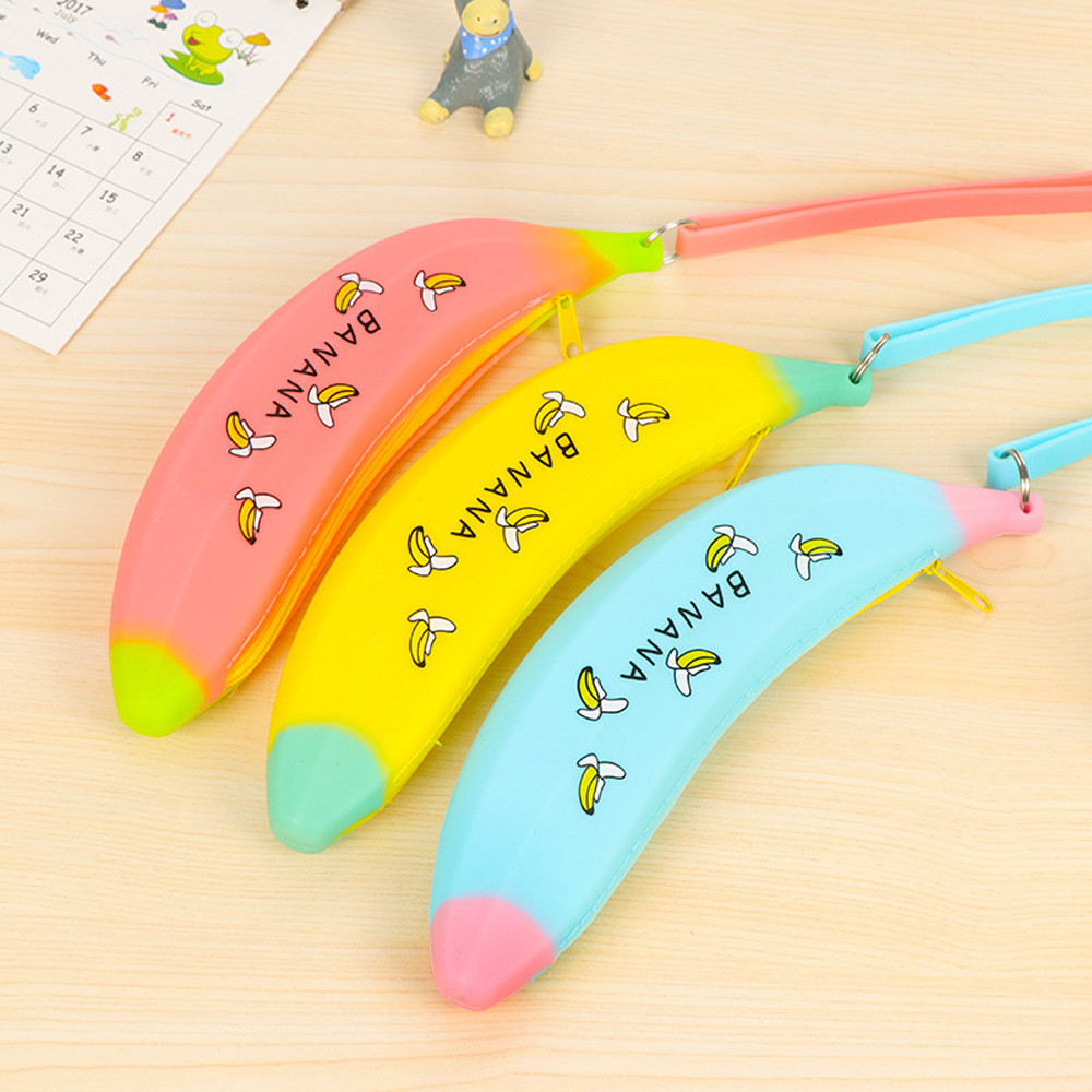 Candy Color Silica Gel Bag Novelty Silicone Portable Banana Coin Pencil Case Purse Bag Wallet Pouch Keyring Exquisite In Trend Mark Nai Yue 2019 Hot1 Workmanship