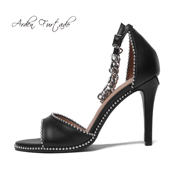 Arden Furtado 2018 summer high heels 6cm woman chunky heels peral buckle strap open toe genuine leather shoes small size 33 40 outlet clearance store EofNJv