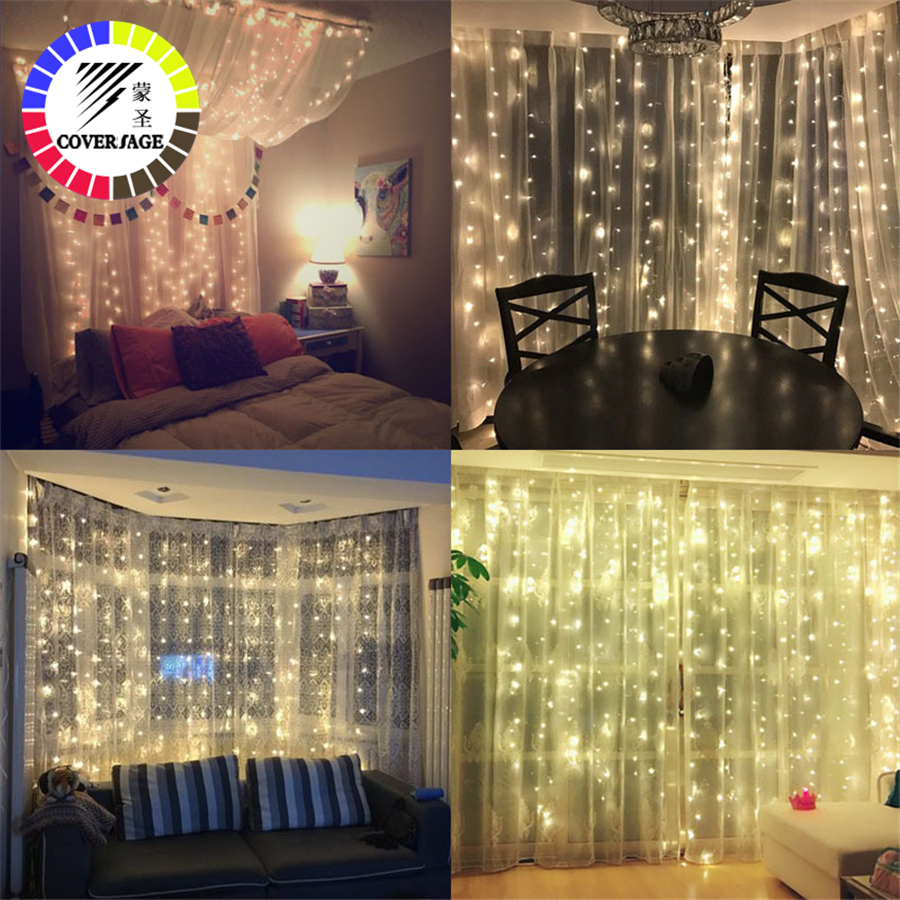 Coversage 3X3M Jul Garlands LED String Julen Net Lights Fairy Xmas - Ferie belysning - Foto 2