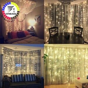 Image 2 - Coversage Weihnachten Led leuchten Vorhang Garland 3X3M LED String Fairy Dekorative Outdoor Indoor Hause Hochzeit Dekoration Net Licht