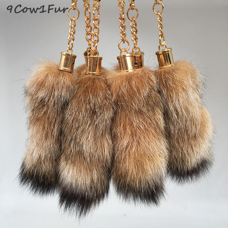 Women winter accessories fox tail keychain 12cm cute Ring Real Fur Keychain on the Women Tassel bags ornaments Car Keychains