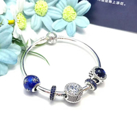 Popular Bracelet Blue Series Gift 925 Sterling Silver Snowflake Charm Bangle For Girls Girlfriend gifts Good Quality Jewelry