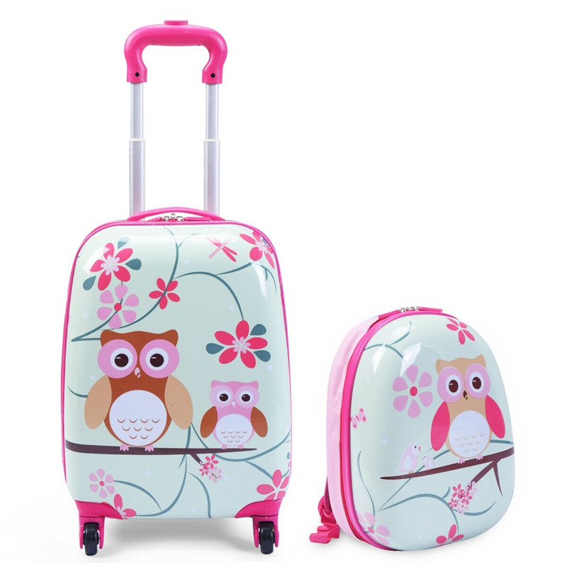 "Cartoon Owl Kids Suitcase 360 Degrees Wheels Travel Luggage 12"" Backpack and 16"" Rolling Kids Luggage Set Durable ABS maletas"