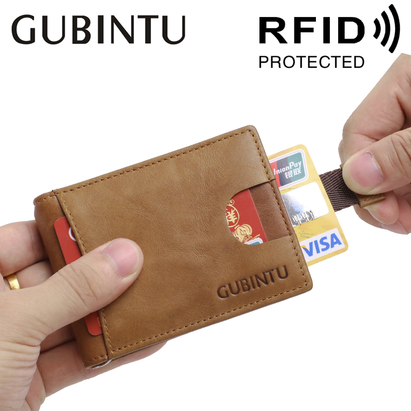 GUBINTU Men's Retro Leather Anti-magnetic Wallet Card Sets Leather RFID Multi-card Wallet Magnetic Anti-magnetic Gold Clip