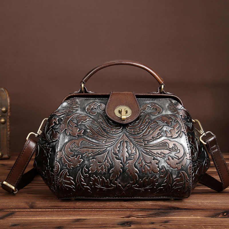 ca8323fd57ab Подробнее Обратная связь Вопросы о Женская сумка из натуральной кожи с тиснением  брендовая винтажная сумка мессенджер с цветочным принтом сумка с замком ...
