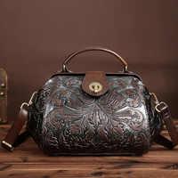 女性本革エンボス加工ハンドバッグブランドヴィンテージメッセンジャーバッグ花印刷袋でロックレザーバッグショルダーバッグ