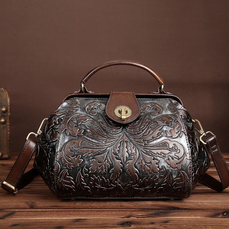 Women Genuine Leather Embossed Handbag  Brand Vintage Messenger Bags Floral Printing Bag with Lock Leather Bag Shoulder Bag