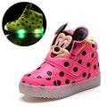 Crianças shoes com luz popular na europa meninos shoes outono inverno dot dos desenhos animados led esporte meninas sneakers crianças shoes tamanho 21-30