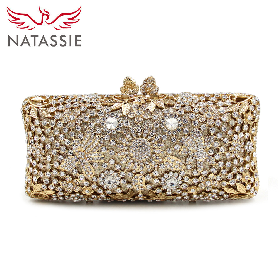 NATASSIE 2017 New Arrival Women Flower Crystal Bags Ladies Evening Clutch Bags Female Gold Clutch Purses