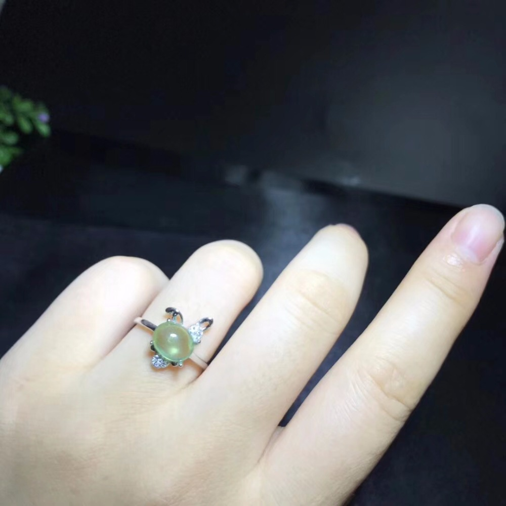 Natural Prehnite Rabbit Rings Women, 925 Sterling Silver Fine Jewelry, 6*8mm *1 Pcs Gemstone With Velvet Box Certificate FJ257